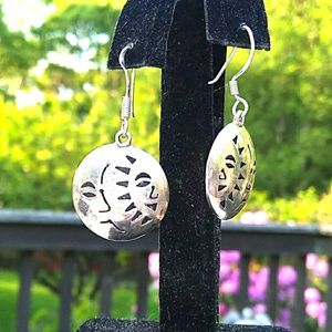 VINTAGE 925 Silver Abstract Celestial Domed Earrin
